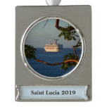 Sail Away at Sunset I Cruise Vacation Photography Silver Plated Banner Ornament