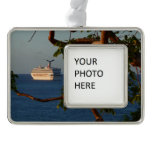 Sail Away at Sunset I Cruise Vacation Photography Silver Plated Framed Ornament