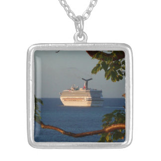 Sail Away at Sunset I Cruise Vacation Photography Silver Plated Necklace
