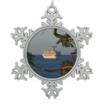 Sail Away at Sunset I Cruise Vacation Photography Snowflake Pewter Christmas Ornament