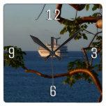 Sail Away at Sunset I Cruise Vacation Photography Square Wall Clock