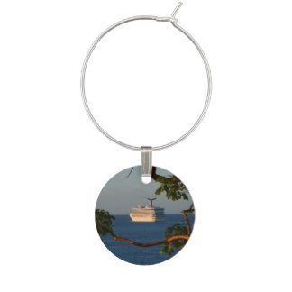 Sail Away at Sunset I Cruise Vacation Photography Wine Glass Charm