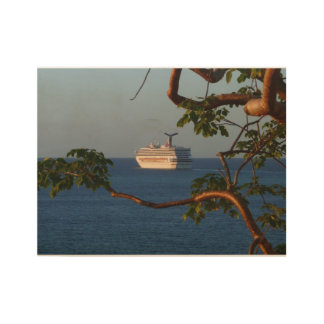 Sail Away at Sunset I Cruise Vacation Photography Wood Poster