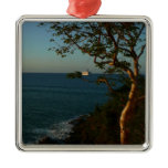 Sail Away at Sunset II Tropical Seascape Square Metal Christmas Ornament