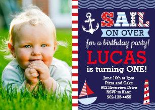 Sail Away Boys Nautical Birthday Invitation