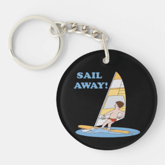 Sail Away Double-Sided Round Acrylic Keychain