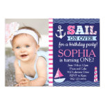 Sail Away Girl's Nautical Birthday 5x7 Paper Invitation Card