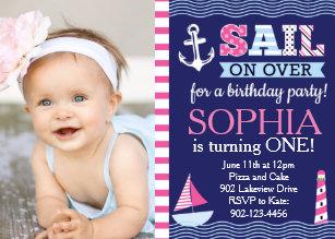 Sail Away Girls Nautical Birthday Invitation