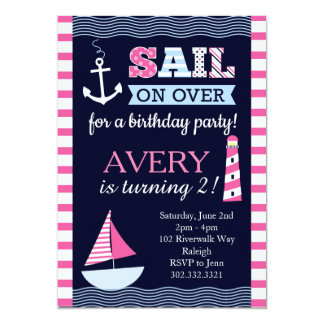 Sail Away Girl's Nautical Birthday Invitation