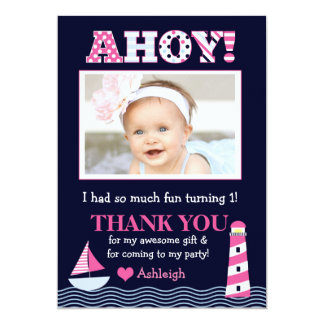 Sail Away Girl's Nautical Photo Thank You Note Card