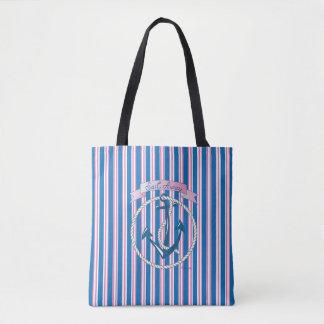 """Sail Away"", Nautical Anchor Blue Stripes Pattern Tote Bag"