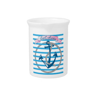 Sail Away Nautical Anchor with blue stripes Pitcher