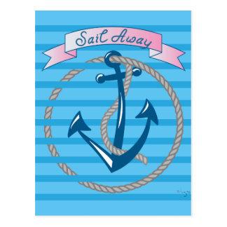 Sail Away Nautical Anchor with blue stripes Postcard