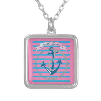 Sail Away Nautical Anchor with blue stripes Square Pendant Necklace