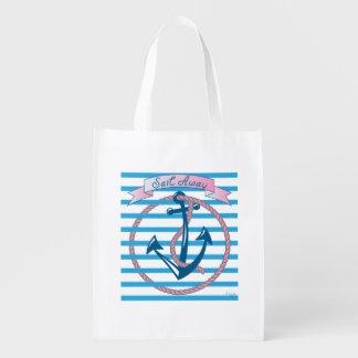 """Sail Away"" Nautical Anchor with pink rope Reusable Grocery Bag"