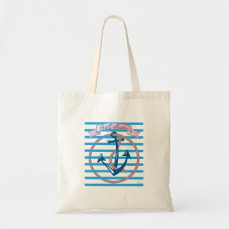 """""""Sail Away"""" Nautical Anchor with pink Rope Tote Bag"""