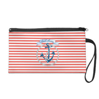 Sail Away - Nautical Anchor with red stripes Wristlet Purse