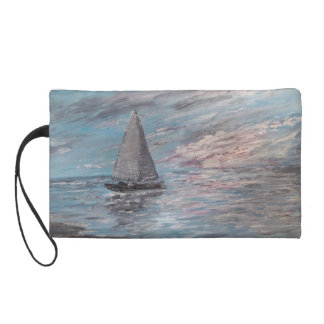 Sail Away Nautical, Sailboat impressionist ART BAG Wristlet Clutch
