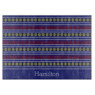 Sail Away on Blue Personalized Glass Cutting Board