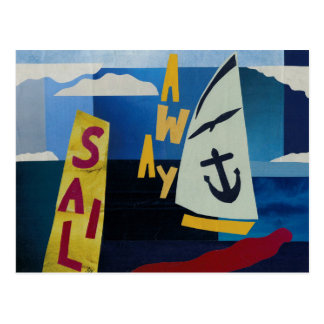'Sail Away' one of four sea themed postcards