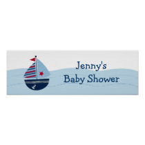 Sail Away Sailboat Baby Shower Banner Sign