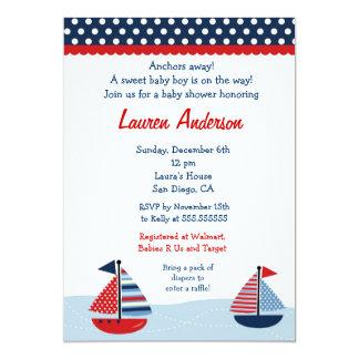 Sail Away Sailboat Baby Shower Invitations