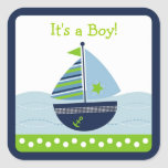 Sail Away Sailboat Envelope Seals Stickers Toppers
