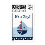 Sail Away Sailboat It's a Boy Postage Stamps