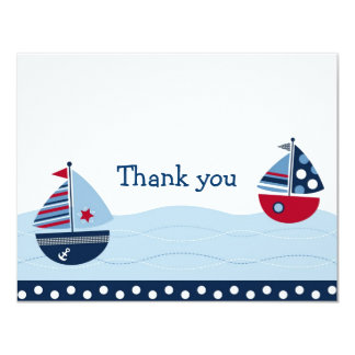 Sail Away Sailboat Nautical Thank You Note Cards
