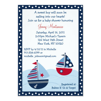 Sail Away Sailboat Ocean Baby Shower Invitations