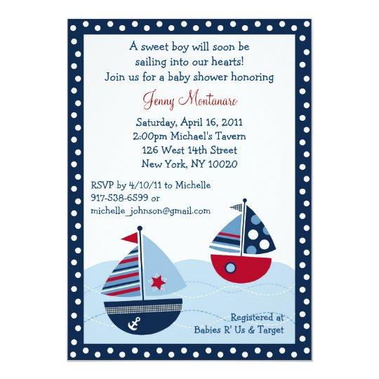 Sail Away Sailboat Ocean Baby Shower Invitations