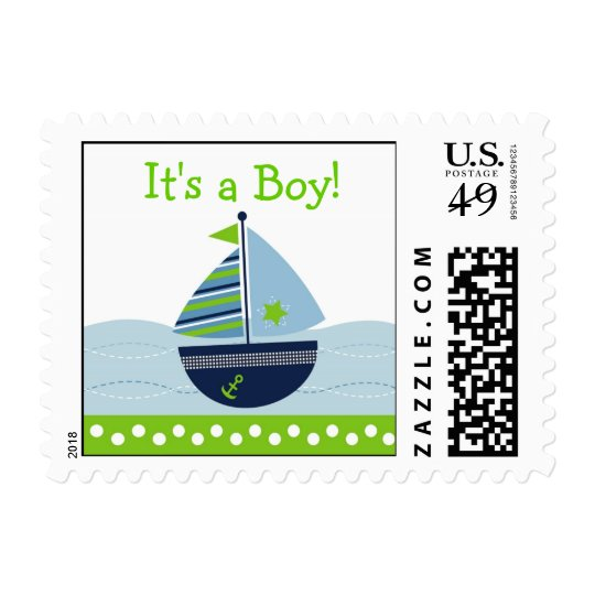 Sail Away Sailboat Personalized Postage Stamps