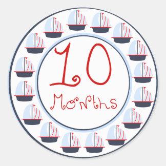 Sail Boat 10 Months Sticker