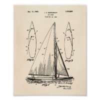 Sail Boat 1927 Patent Art Old Peper Poster