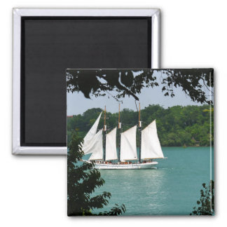 Sail Boat 2 Inch Square Magnet