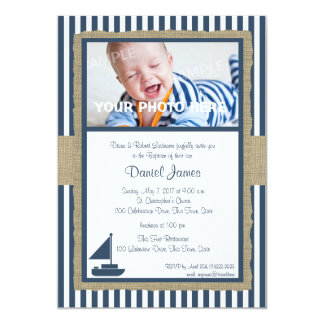 Sail Boat and Stripes Rustic Nautical Baptism Card