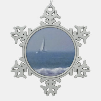 Sail Boat and Waves Snowflake Ornament Pewter Snowflake Ornament