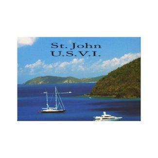 Sail Boat at Saint John Stretched Canvas Print