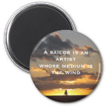 Sail boat at sunset 2 inch round magnet