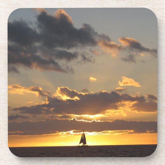 Sail boat at sunset beverage coaster