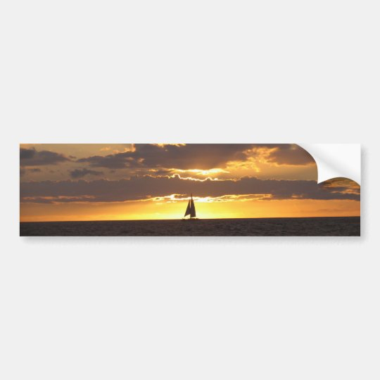 Sail boat at sunset bumper sticker
