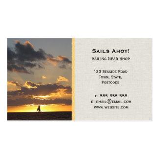 Sail boat at sunset business card