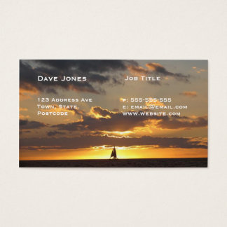 Sail boat at sunset business card