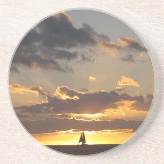 Sail boat at sunset drink coaster