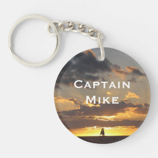 Sail boat at sunset keychain