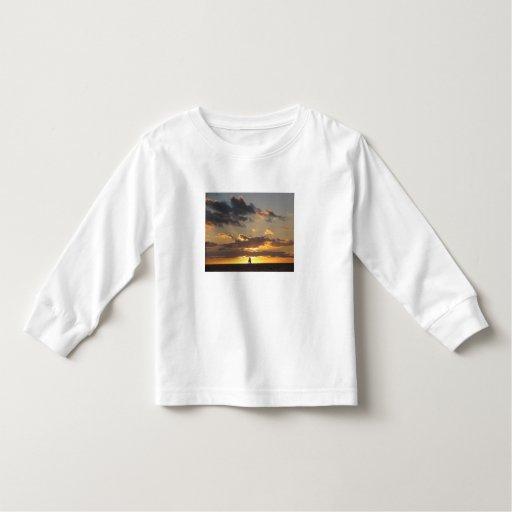 Sail boat at sunset tshirts