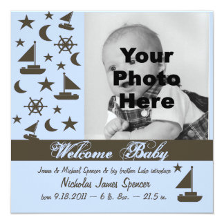 Sail Boat Baby Announcement/ Blue Card