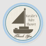Sail Boat Baby Shower Blue Sticker