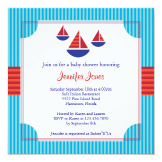 Sail Boat Baby Shower Invitation