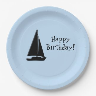 Sail Boat Birthday 9 Inch Paper Plate